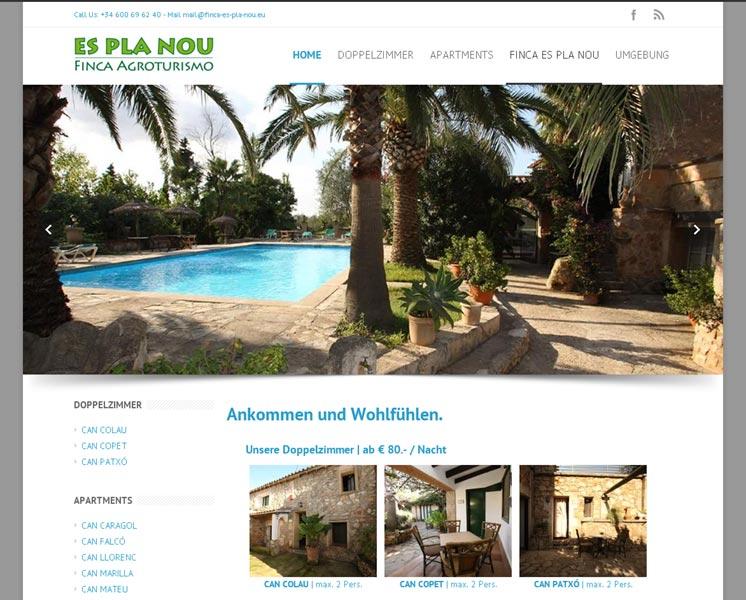Finca Es Pla Nou<br /> Erstellung / Gestaltung > Website<br />www.finca-es-pla-nou.eu
