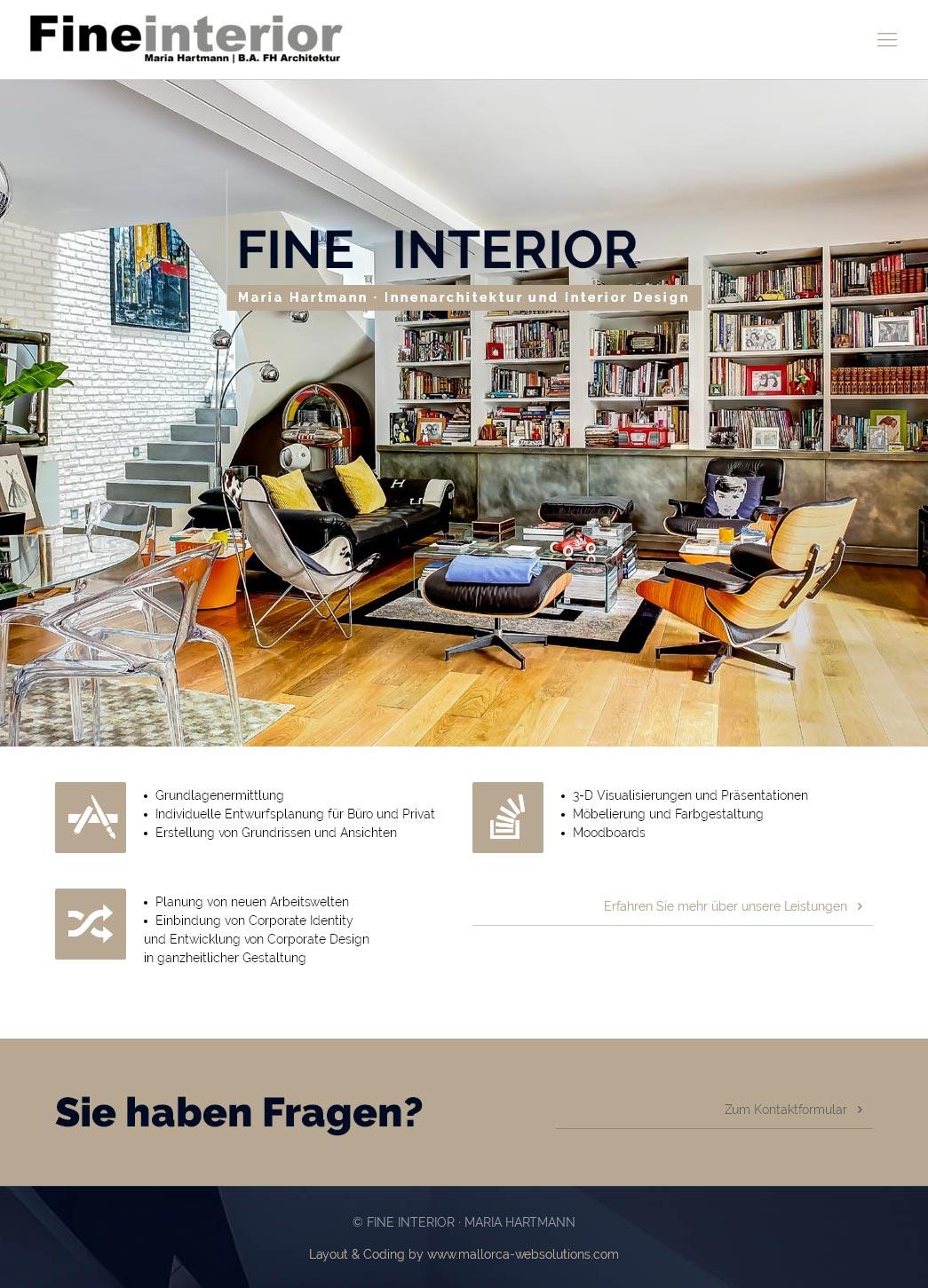 Fine Interior | Maria Hartmann<br />Entwicklung der CI, Grafik & Layout für Online<br />www.fineinterior.de