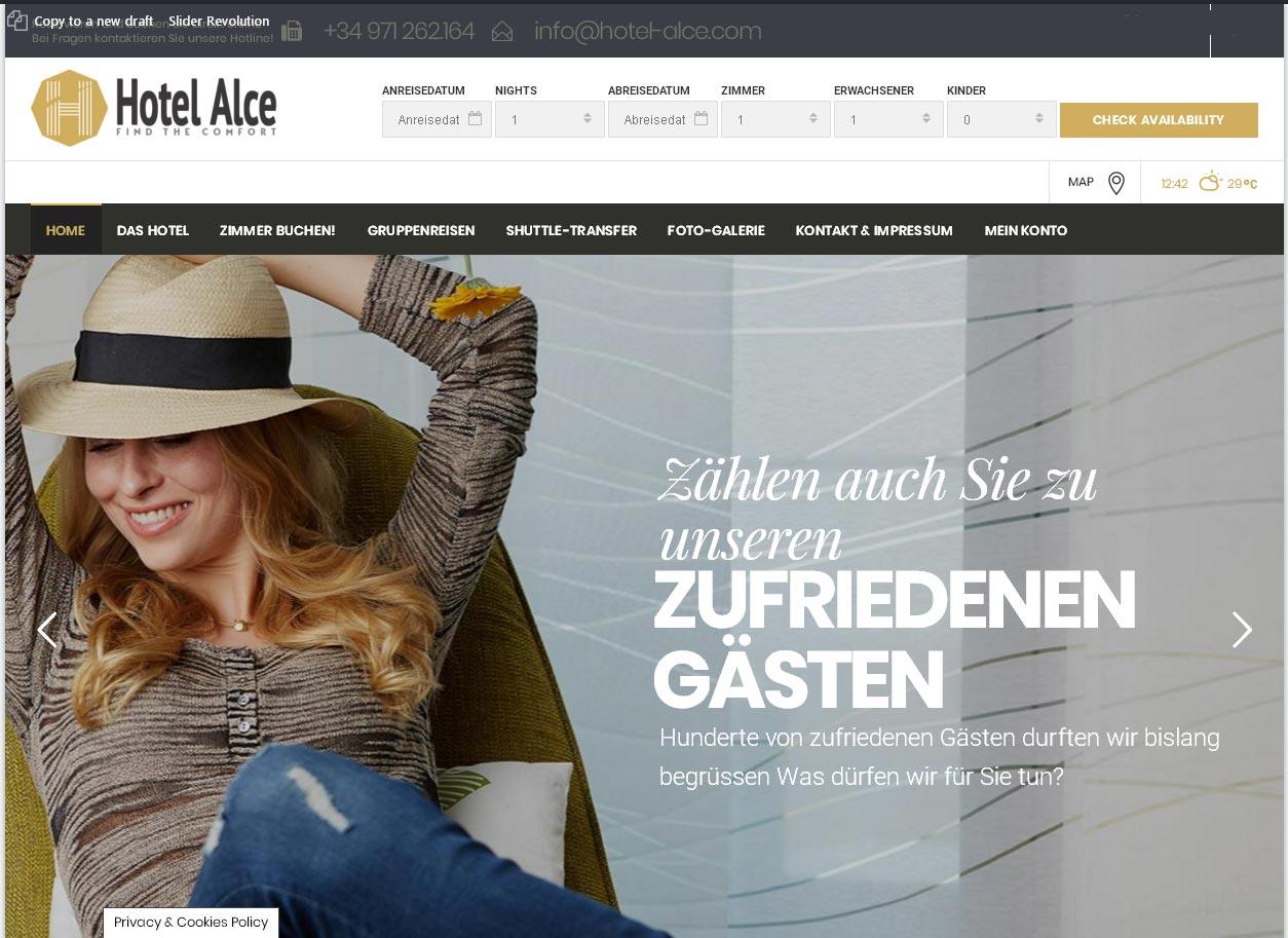 Hotellerie Management Alce S.L.<br />Entwicklung der CI, Grafik & Layout für Online<br />www.hotelalce.eu