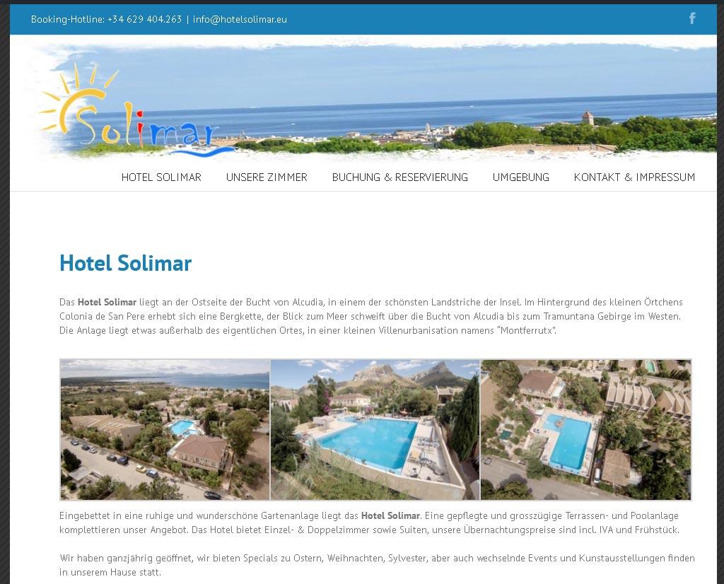 Hotel Solimar<br />Entwicklung der CI, Grafik & Layout für Online<br />www.hotelsolimar.es