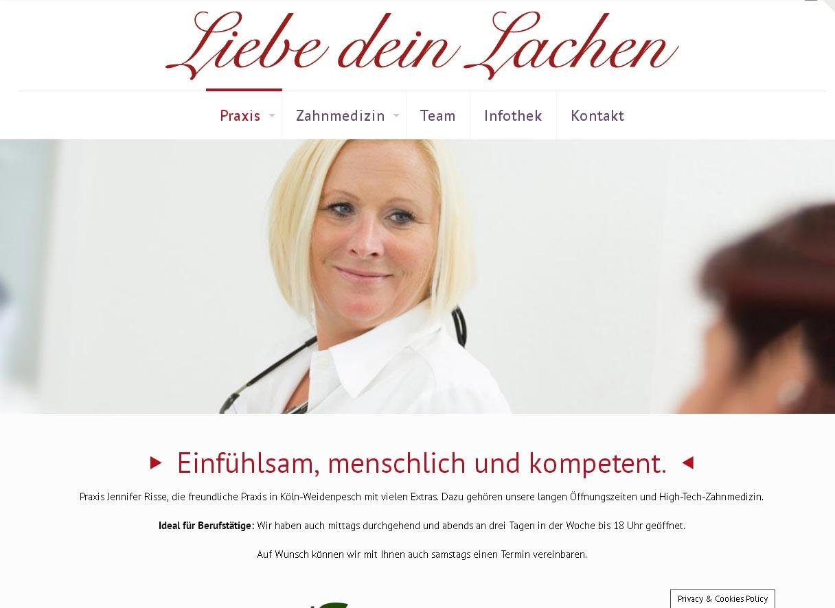 Zahnarztpraxis Jennifer Risse<br /> Programmierung, Grafik, Layout: Website<br /> www.liebedeinlachen.com