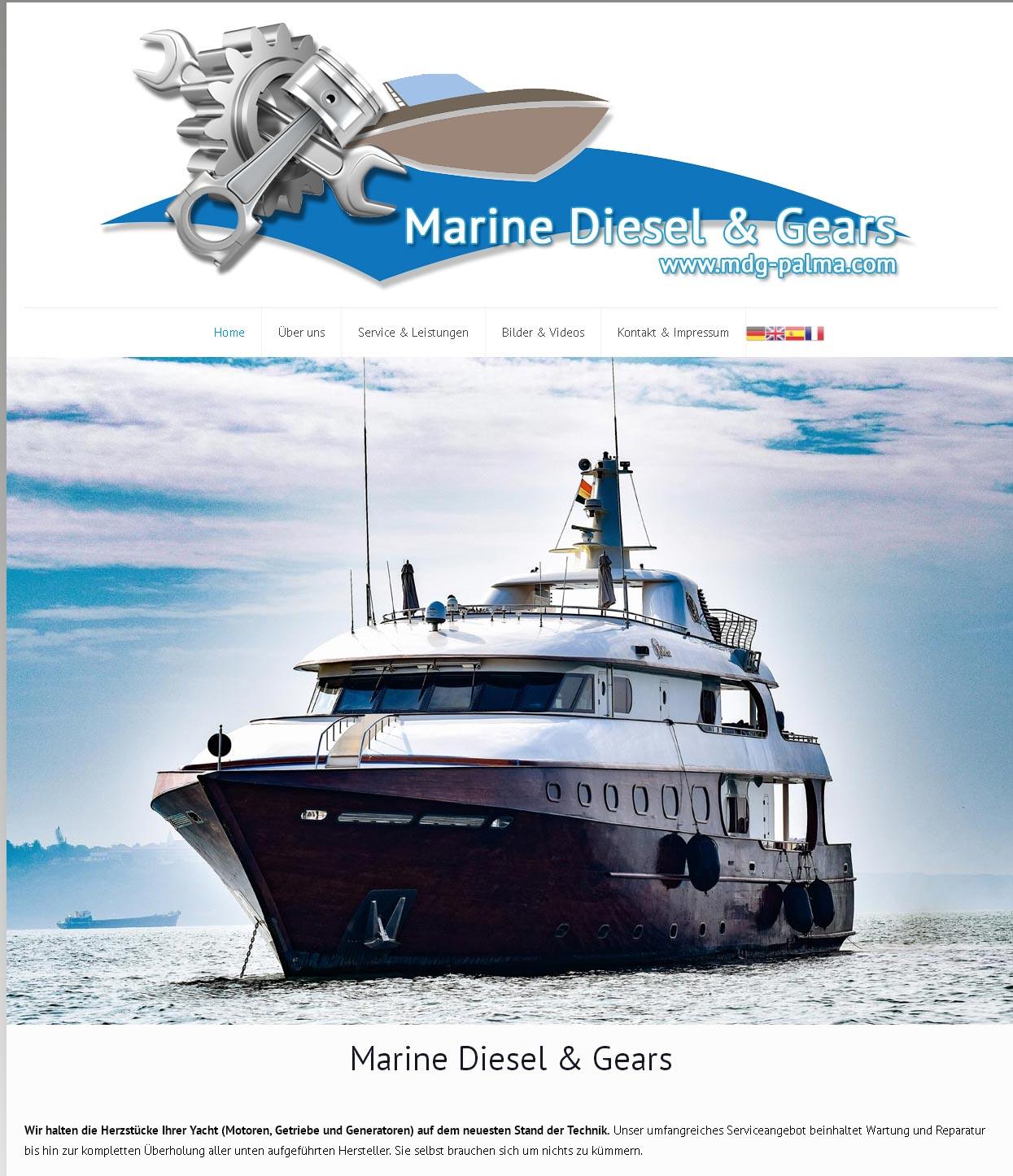 Marine Diesel & Gears<br />Entwicklung der CI, Grafik & Layout für Online<br />www.mdg-palma.com