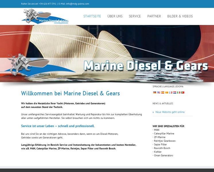 Marine Diesel & Gears<br />Gestaltung / Layout > Website<br />www.mardieg.com