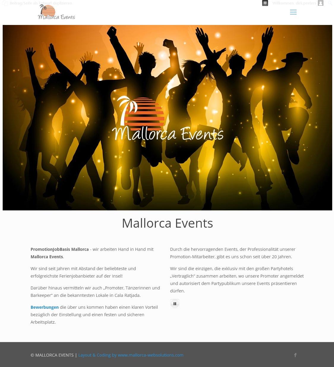 Mallorca Events<br /> Entwicklung der CI, Grafik & Layout für Online<br />www.mallorcaevents.net