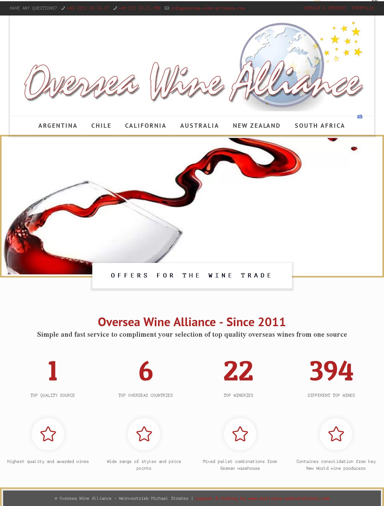 Oversea Wine Alliance<br /<Entwicklung der CI, Grafik & Layout für Online<br />www.oversea-wine-alliance.com