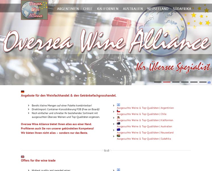Oversea Wine Alliance<br />Erstellung / Gestaltung > Website<br />www.oversea-wine-alliance.com