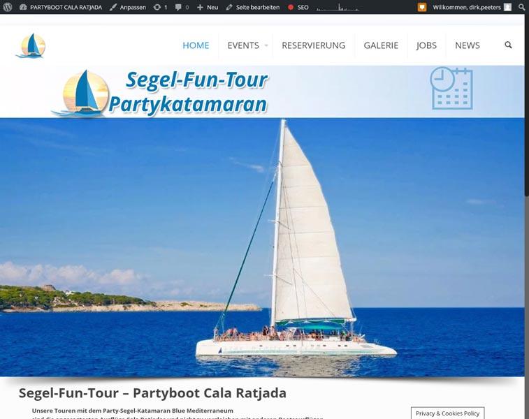 Partyboot Cala Ratjada<br />Programmierung, Grafik, Layout: Website<br />www.partyboot-calaratjada.com
