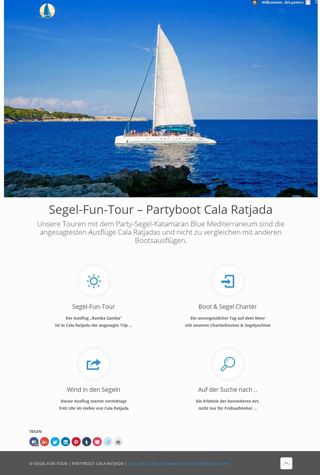Partyboot Cala Ratjada<br /> Entwicklung der CI, Grafik & Layout für Online<br />www.partyboot-calaratjada.com