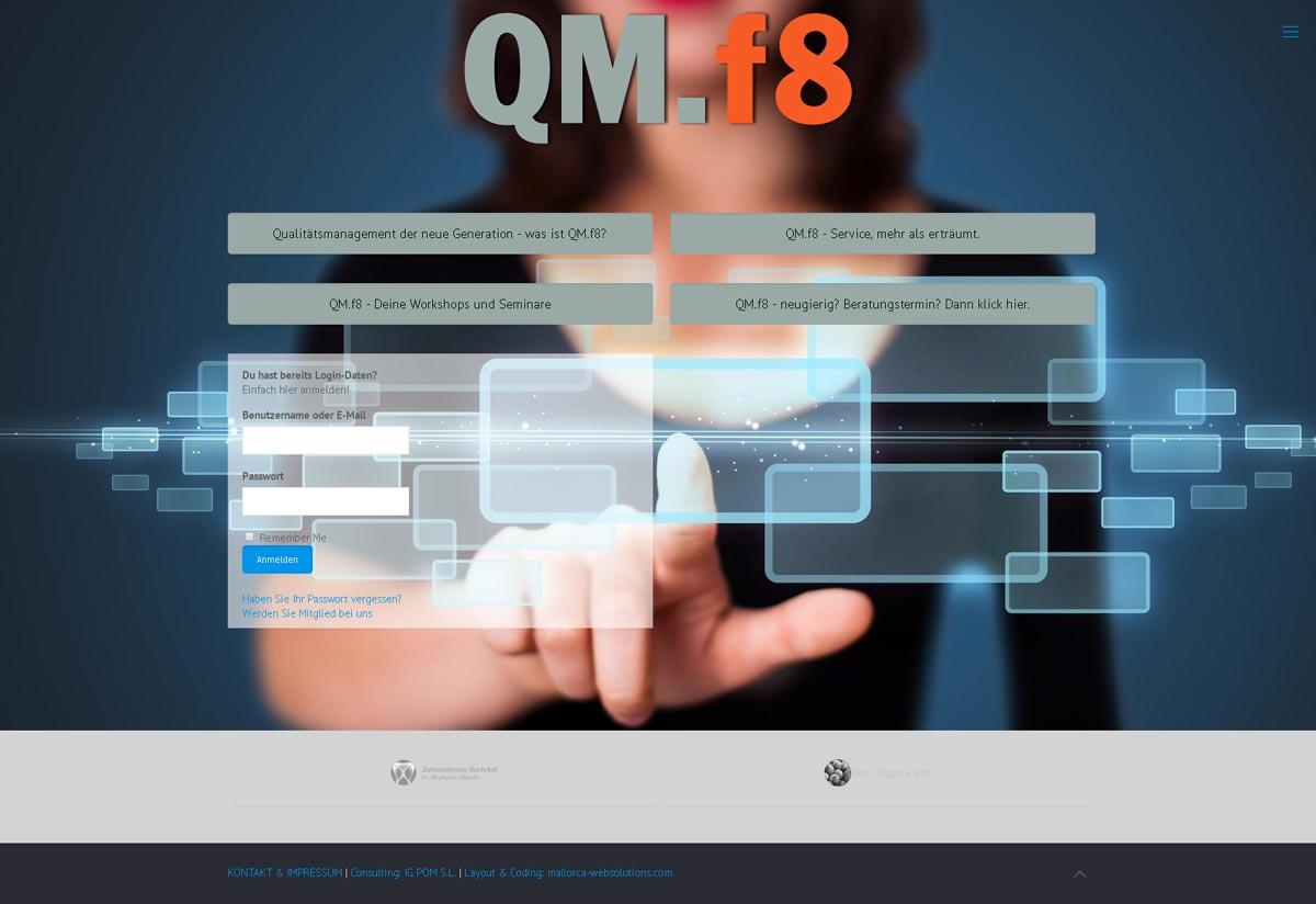 Qualitätsmanagement für Zahnarztpraxen<br />Entwicklung der CI, Grafik & Layout für Online<br />www.qmf8.de