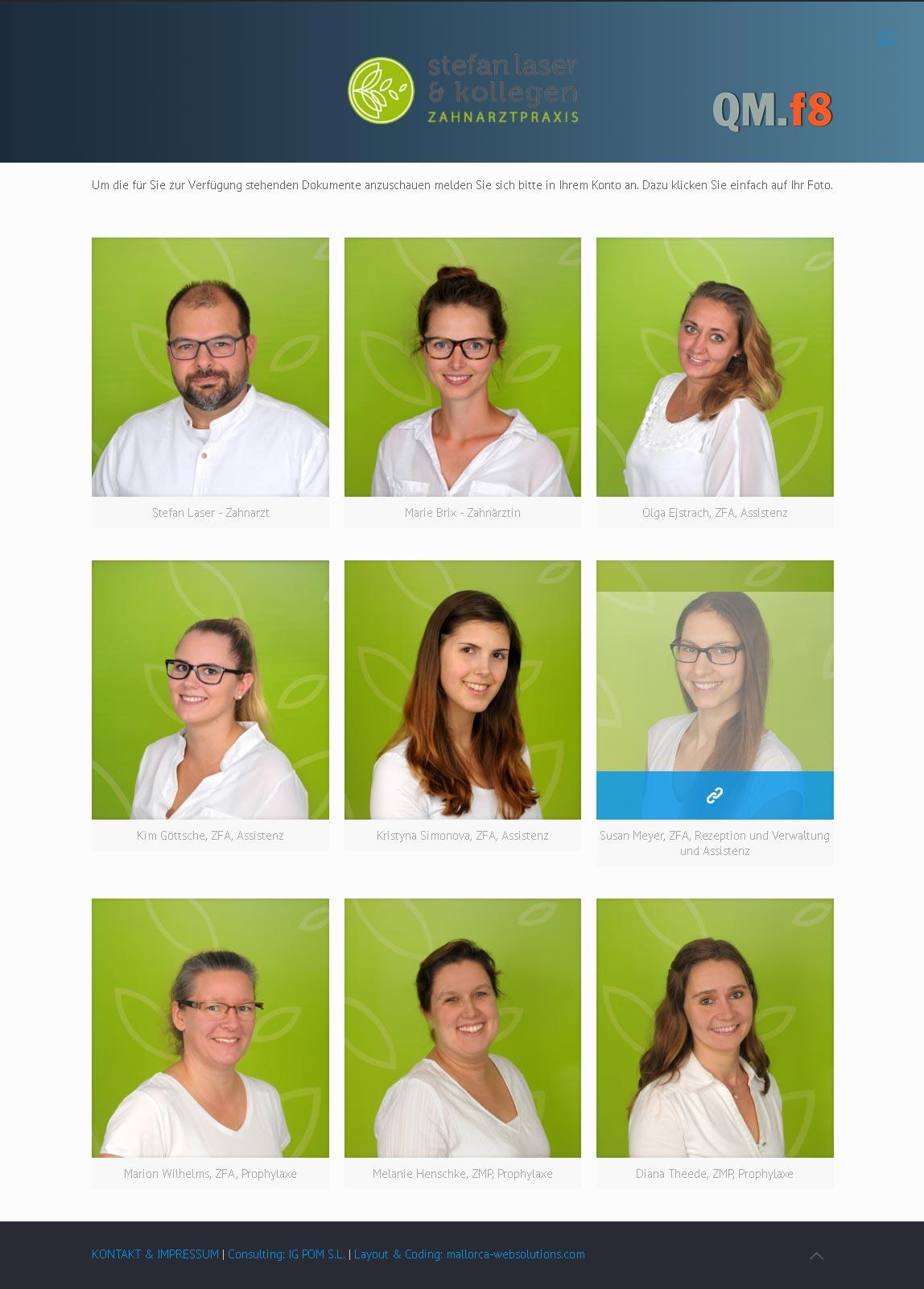 Qualitätsmanagement Zahnarztpraxis Stefan Laser<br />Entwicklung der CI, Grafik & Layout für Online<br />www.qmf8.de