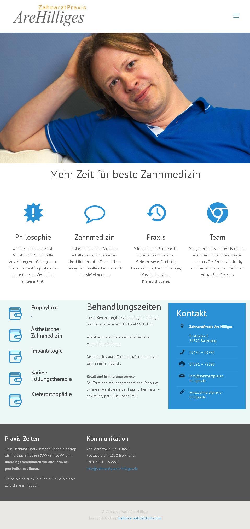 ZA Are Hilliges<br /> Entwicklung der CI, Grafik & Layout für Online<br />www.zahnarztpraxis-hilliges.com