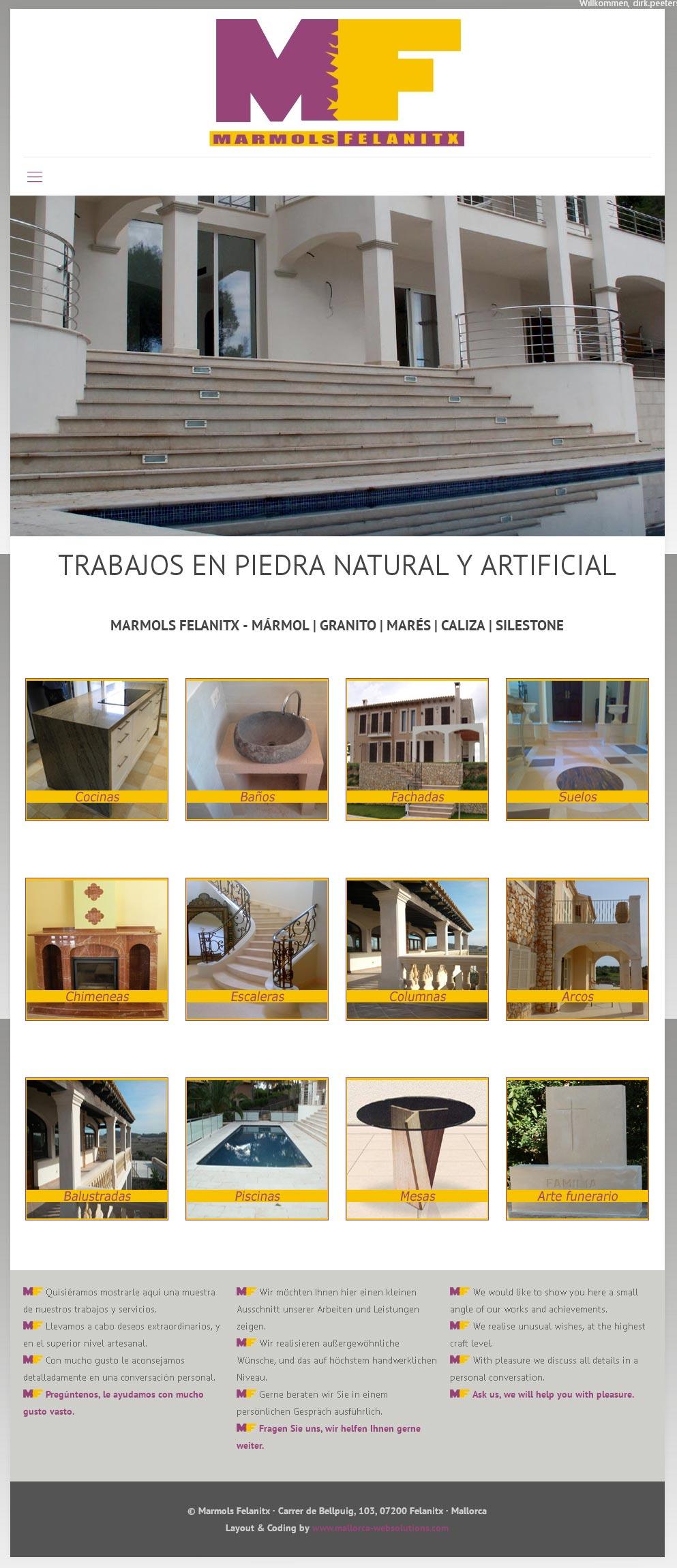 Marmols Felanitx<br /> Entwicklung der CI, Grafik & Layout für Online<br />www.marmols-felanitx.com