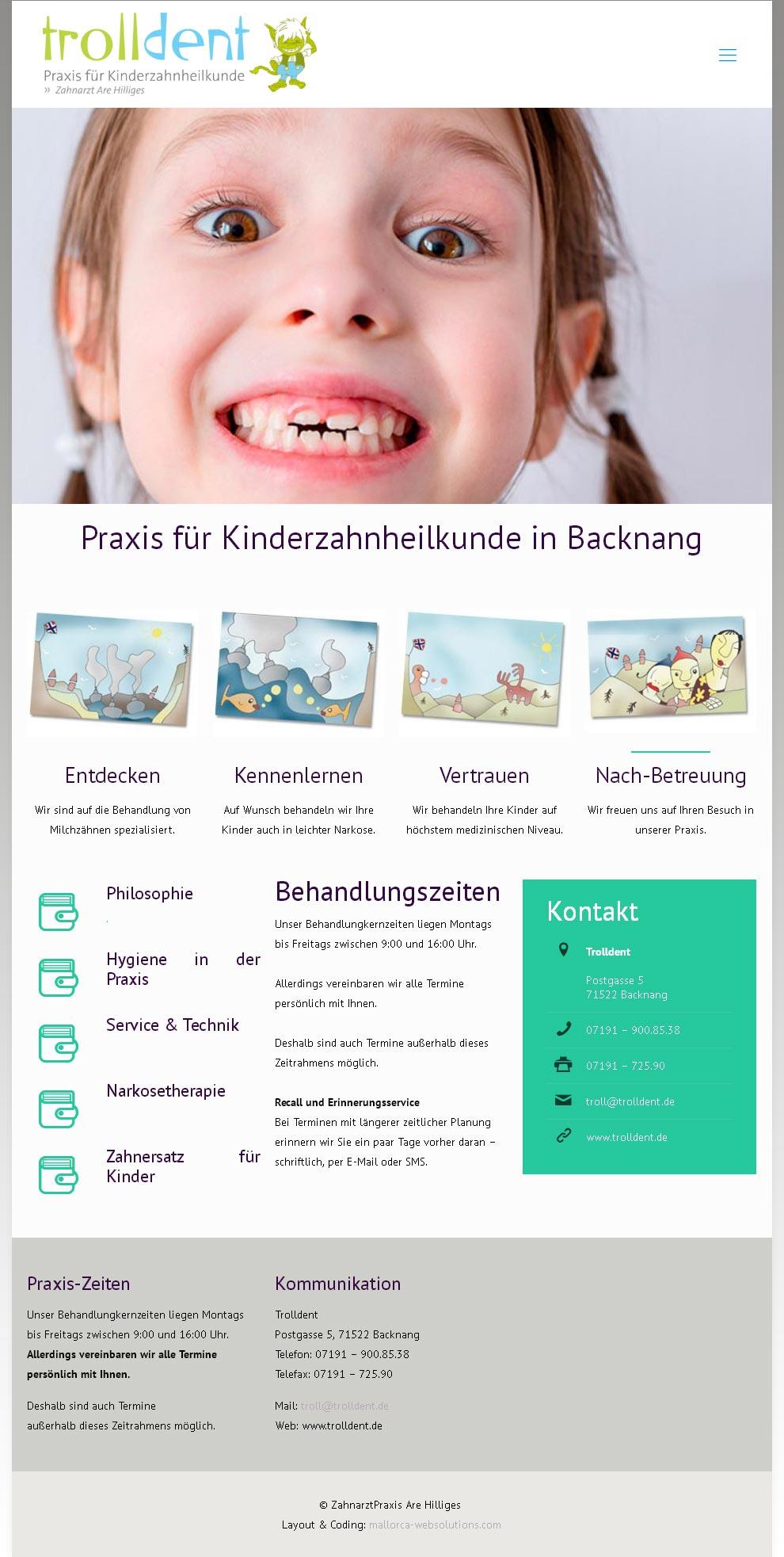 ZA Are Hilliges<br /> Entwicklung der CI, Grafik & Layout für Online<br />www.trolldent.de