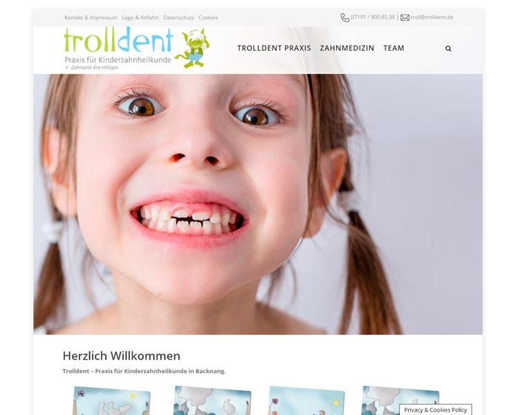 trolldent<br />Programmierung, Grafik, Layout: Website<br />www.trolldent.de