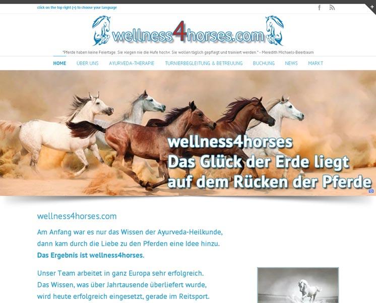 wellness4horses.com<br />Erstellung / Gestaltung > Website<br />www.wellness4horses.com