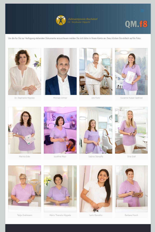 Qualitätsmanagement Zahnarztpraxis Buchdorf<br />Entwicklung der CI, Grafik & Layout für Online<br />www.qmf8.de