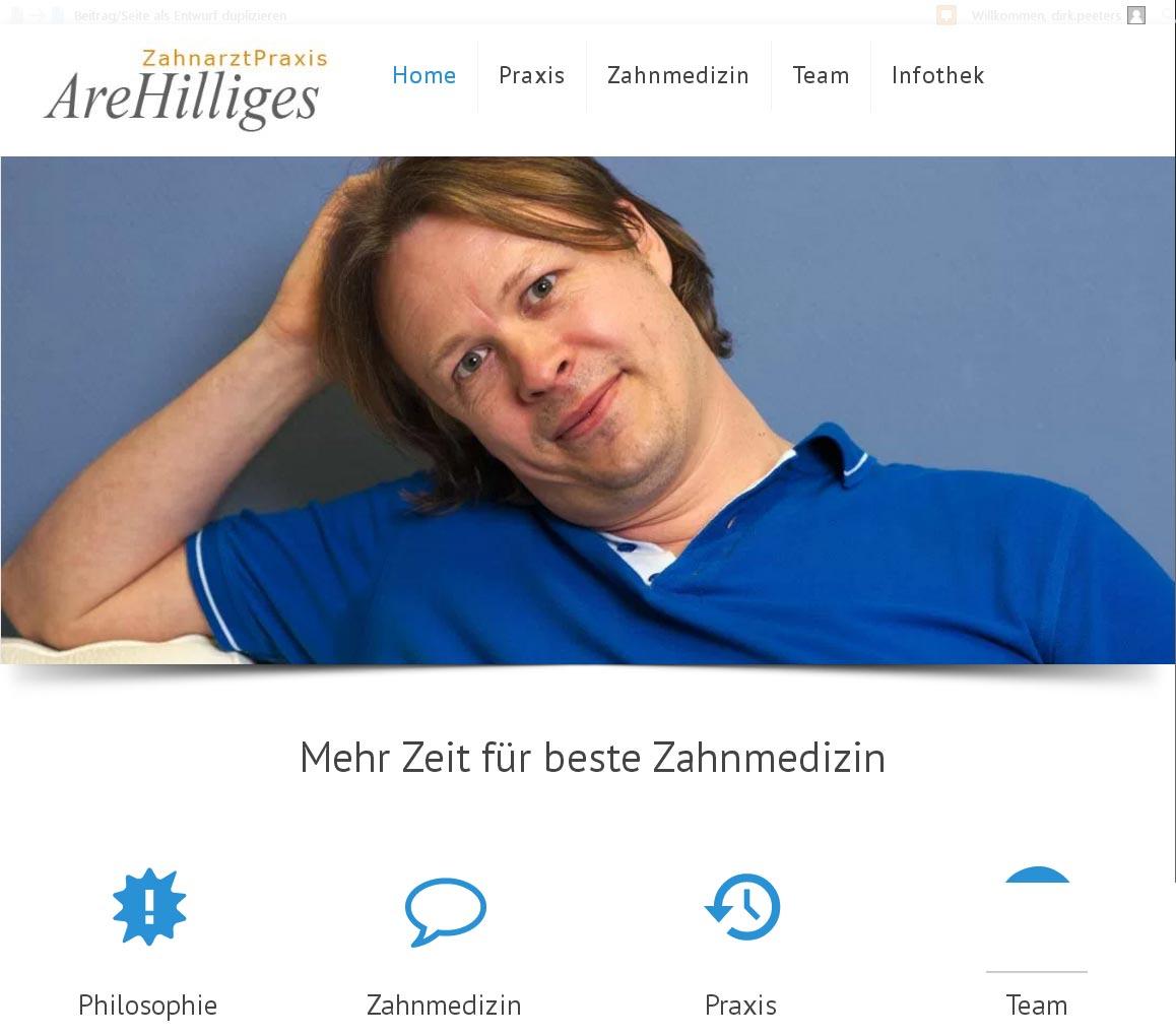 ZahnarztPraxis Are Hilliges<br />Entwicklung der CI, Grafik & Layout für Online<br />www.zahnarztpraxis-hilliges.com